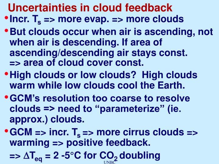 Uncertainties in cloud feedback