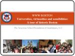 www boston universities virtuosities and sensibilities a tour of historic boston 2009 2010