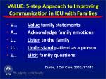 value 5 step approach to improving communication in icu with families