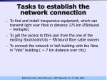 tasks to establish the network connection