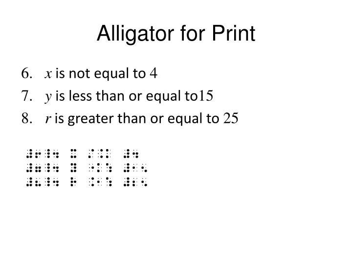 Alligator for Print