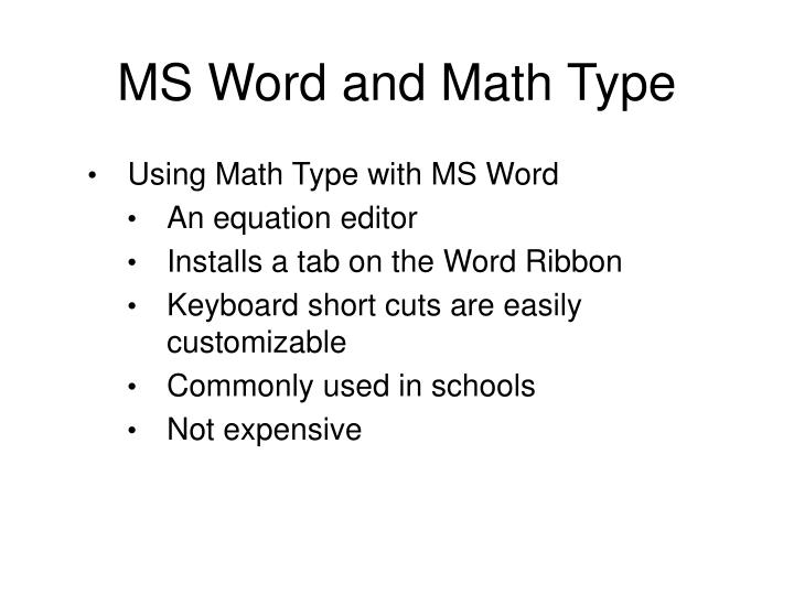 MS Word and Math Type