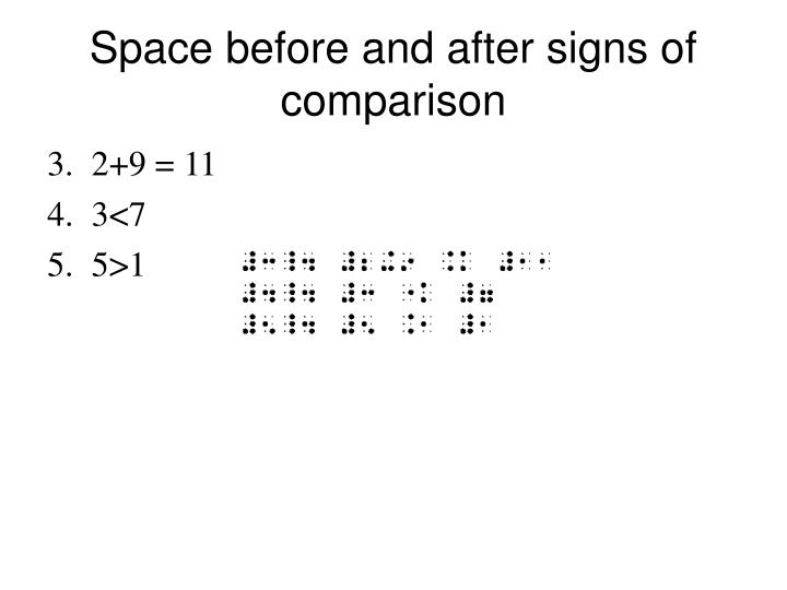 Space before and after signs of comparison