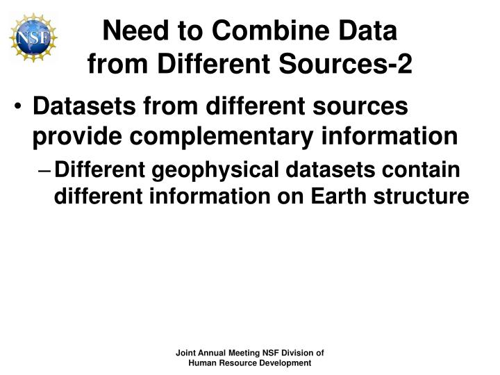 Need to combine data from different sources 2