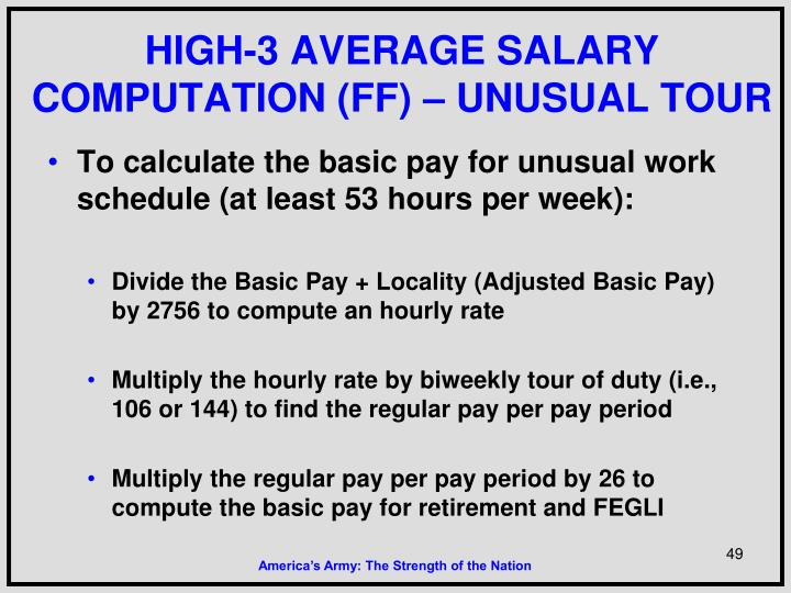 HIGH-3 AVERAGE SALARY COMPUTATION (FF) – UNUSUAL TOUR