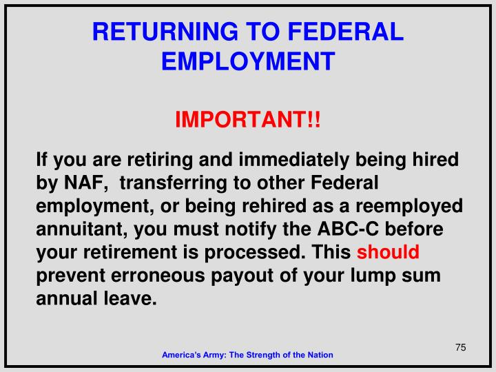 RETURNING TO FEDERAL EMPLOYMENT