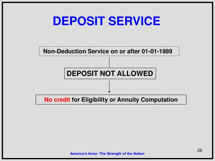 DEPOSIT NOT ALLOWED
