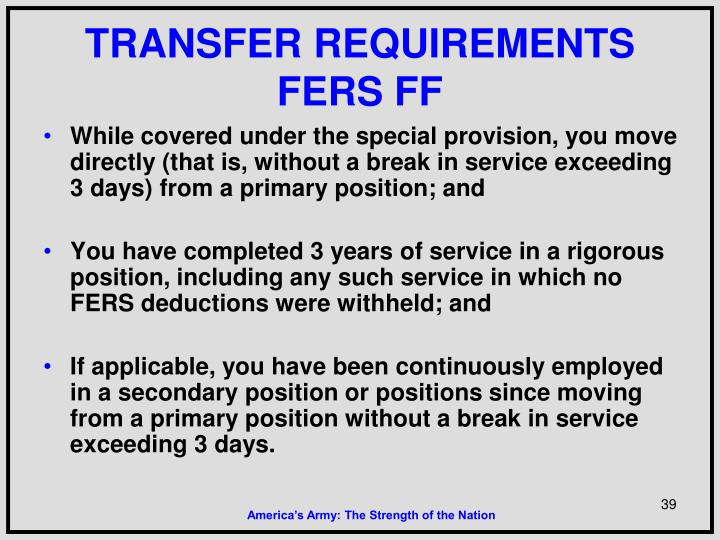 TRANSFER REQUIREMENTS