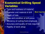 economical drilling speed variables