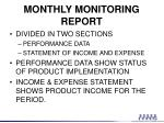monthly monitoring report1