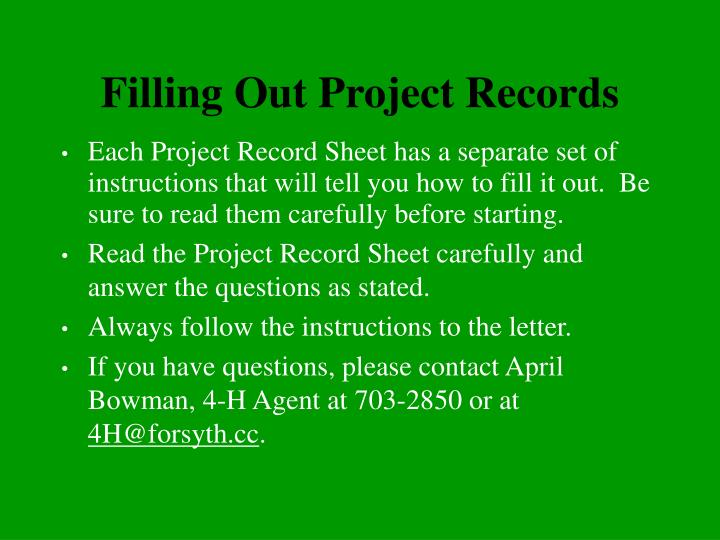 Filling Out Project Records