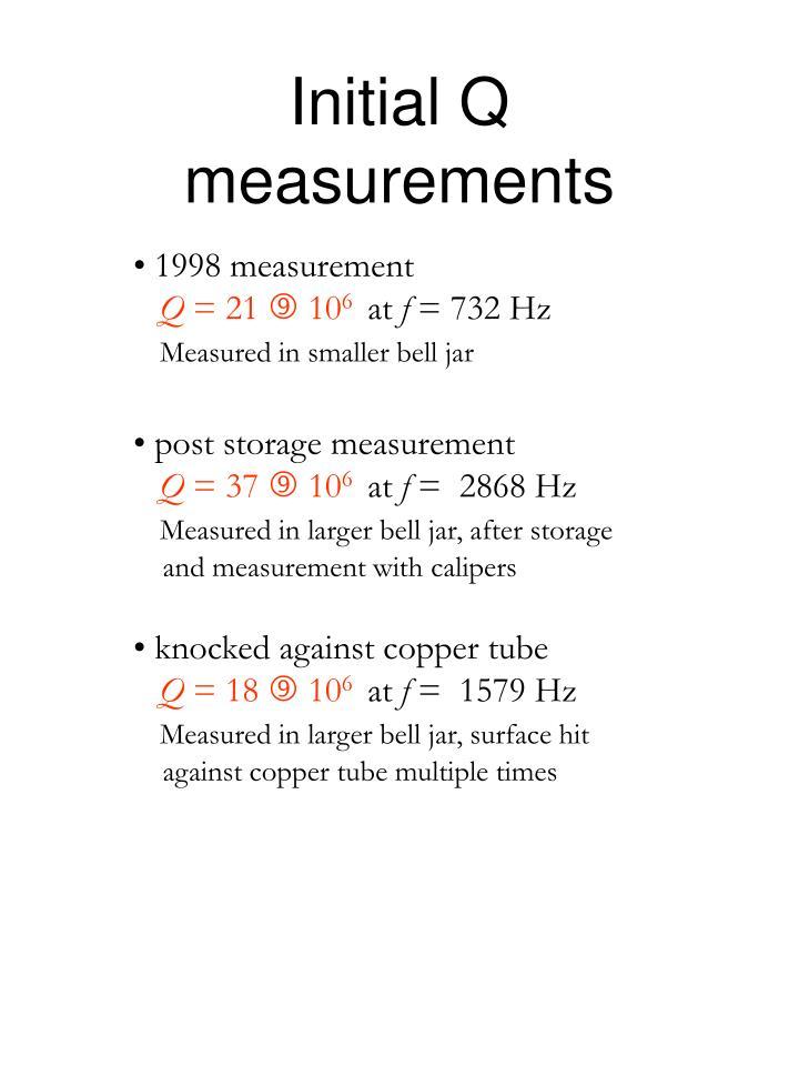 Initial q measurements