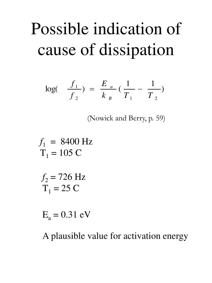 Possible indication of cause of dissipation