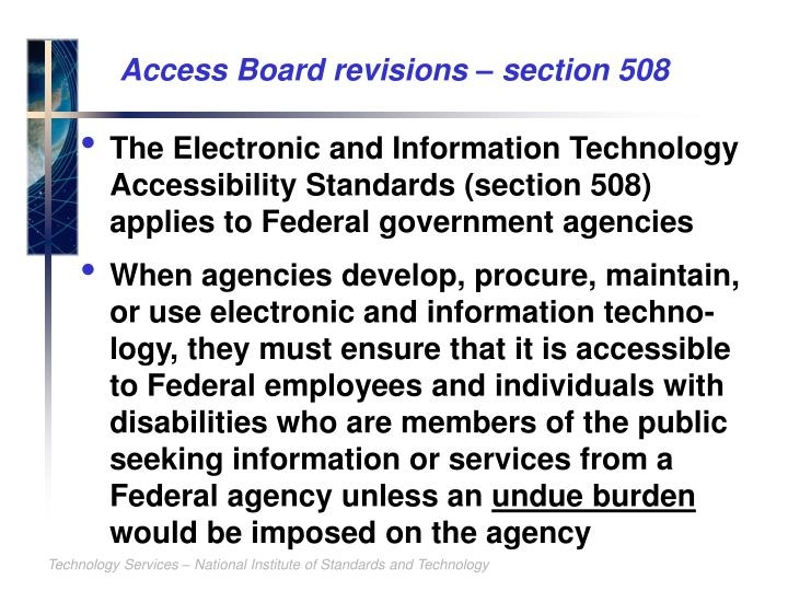 Access Board revisions – section 508