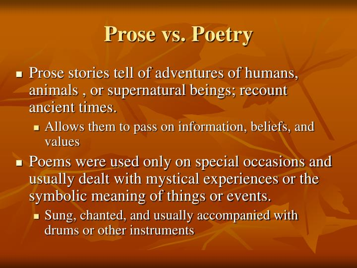 Prose vs. Poetry