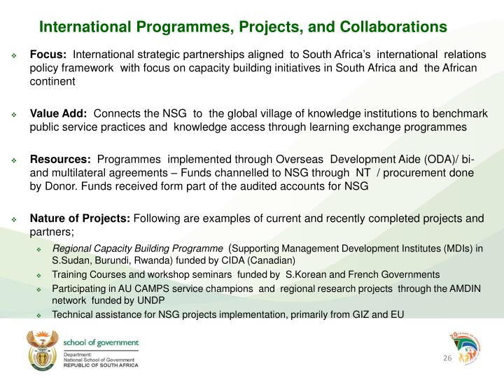 International Programmes, Projects, and Collaborations