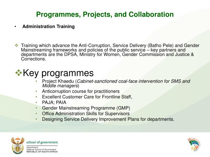 Programmes, Projects, and Collaboration