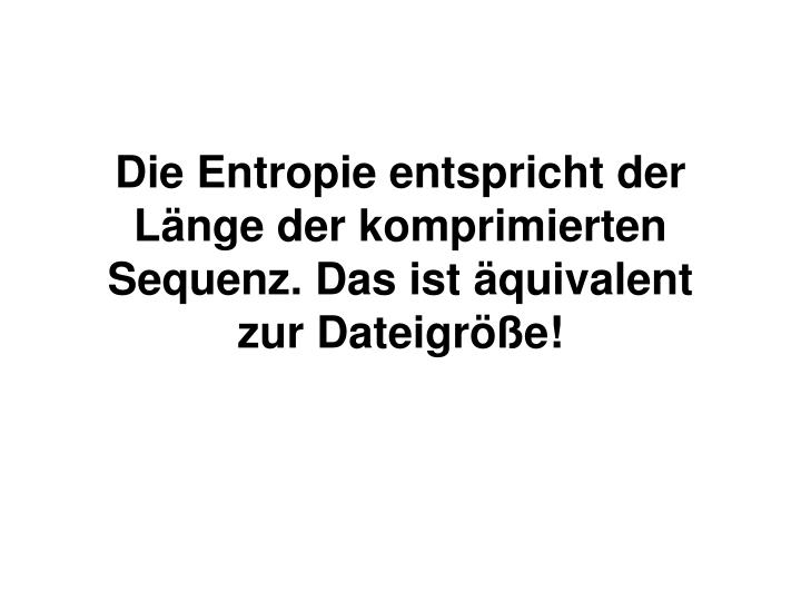 Die Entropie entspricht der Länge der komprimierten Sequenz. Das ist äquivalent zur Dateigröße!