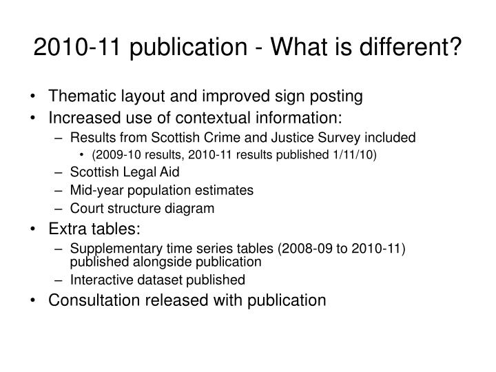 2010-11 publication - What is different?