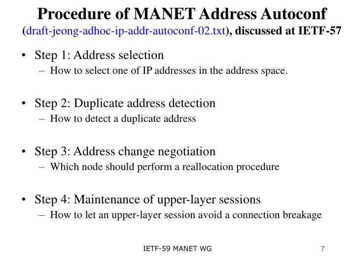 Procedure of MANET Address Autoconf