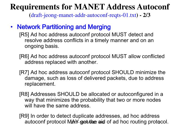 Requirements for MANET Address Autoconf