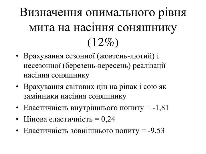 Визначення опимального рівня мита на насіння соняшнику (12%)