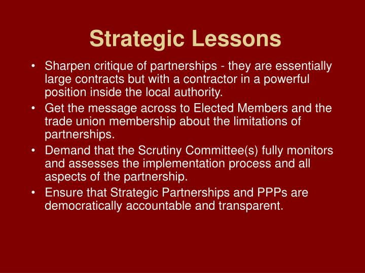 Strategic Lessons