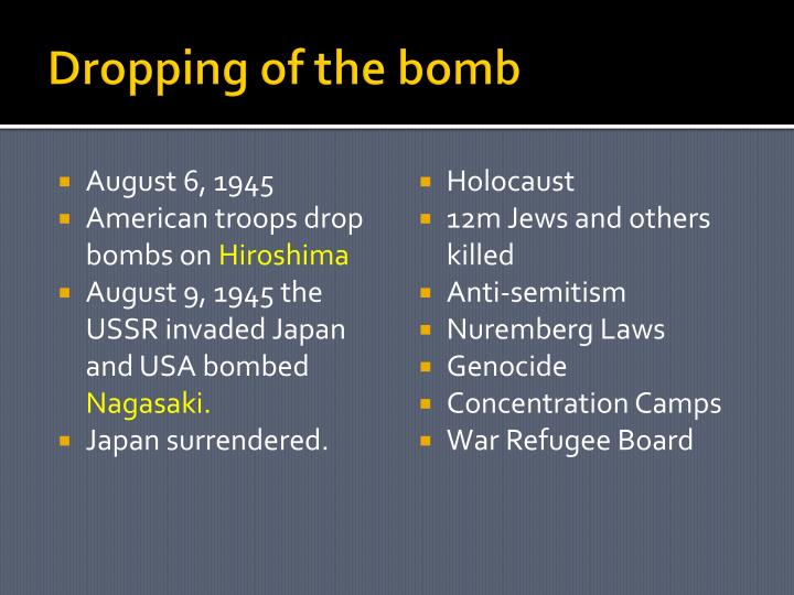 Dropping of the bomb