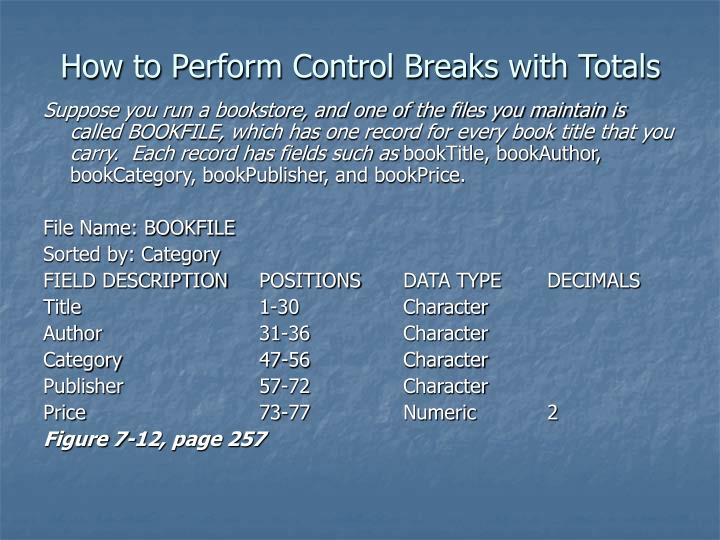 How to Perform Control Breaks with Totals