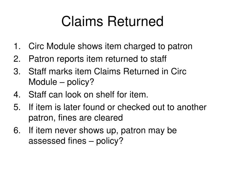 Claims Returned