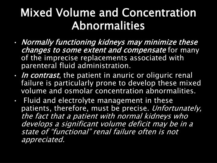 Mixed Volume and Concentration Abnormalities
