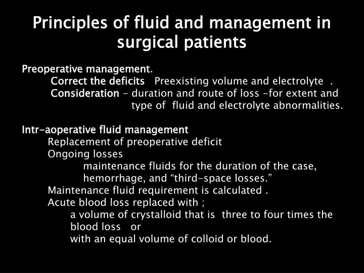 Principles of fluid and management in surgical patients