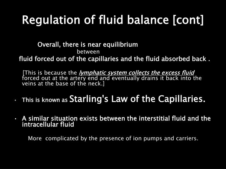 Regulation of fluid balance [cont]