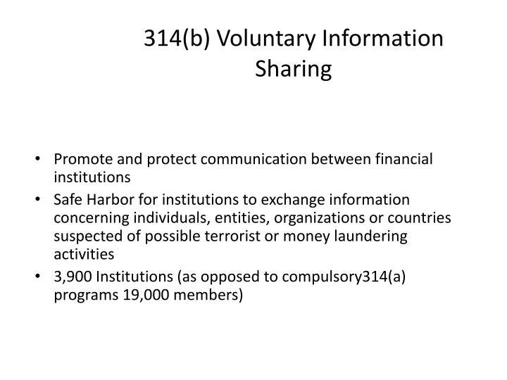 314(b) Voluntary Information Sharing