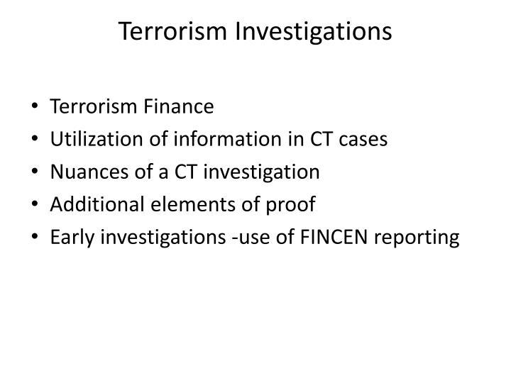 Terrorism Investigations