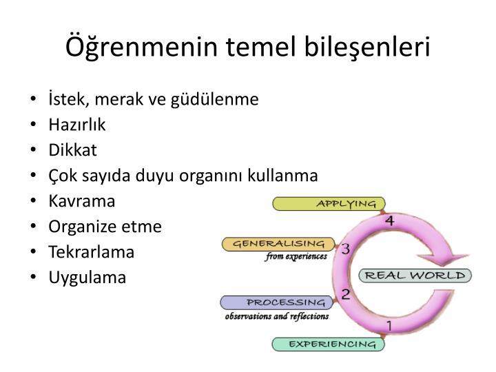 Öğrenmenin temel bileşenleri