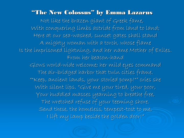the new colossus by emma lazarus summary essays
