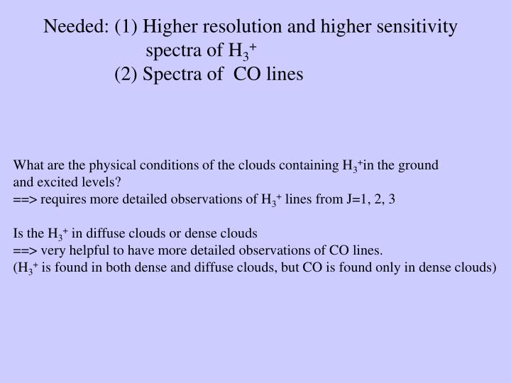 Needed: (1) Higher resolution and higher sensitivity spectra of H