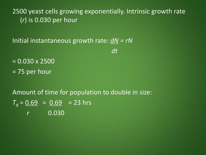 2500 yeast cells growing exponentially. Intrinsic growth rate (