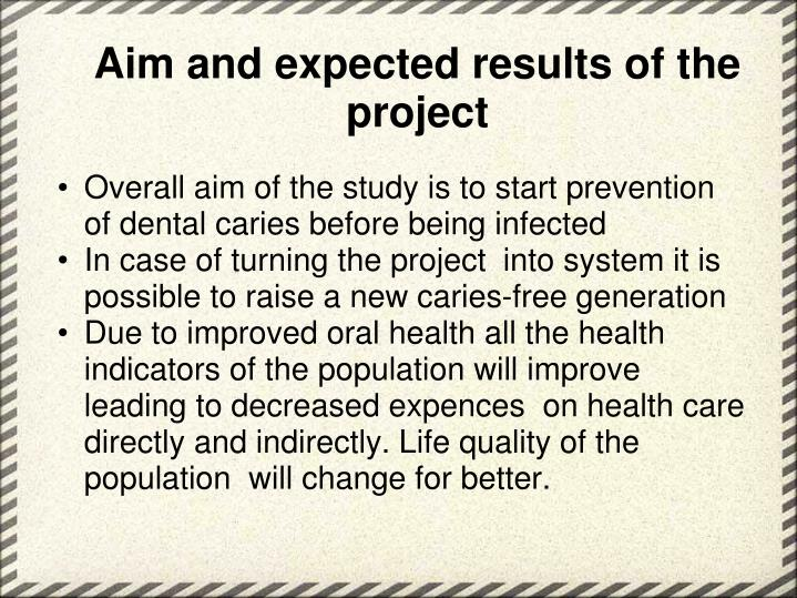 Aim and expected results of the project