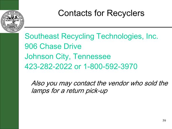Contacts for Recyclers