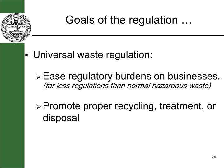 Goals of the regulation …