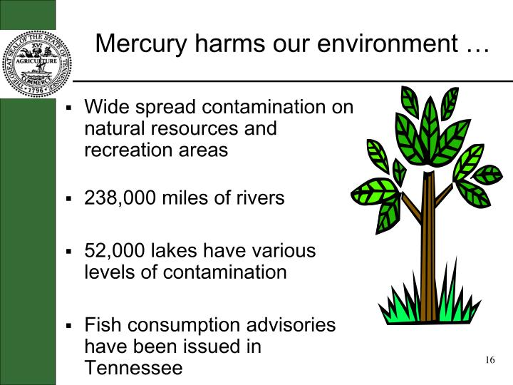 Mercury harms our environment …
