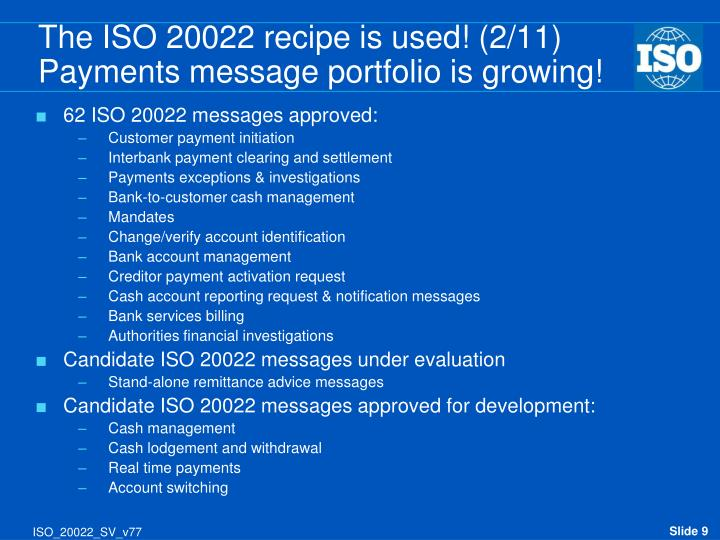 62 ISO 20022 messages approved: