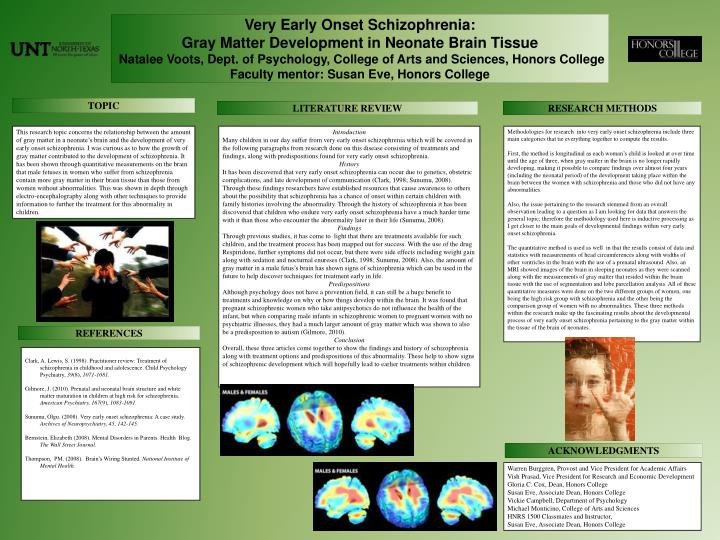 what is childhood onset schizophrenia psychology essay Childhood schizophrenia also tends to be harder to treat and to have a worse prognosis than the adult-onset form (rapoport, 1997) childhood schizophrenia is seen as simply an early version of the adult-disease but it stems from a more severe brain disruption.