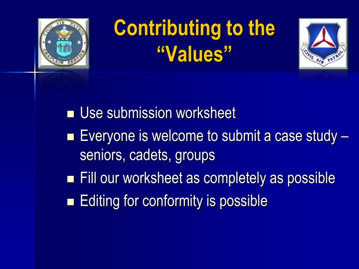 """Contributing to the """"Values"""""""