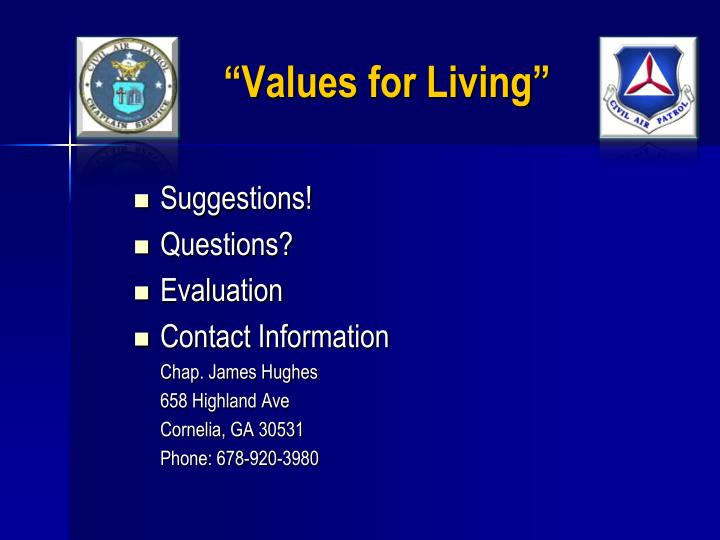 """""""Values for Living"""""""