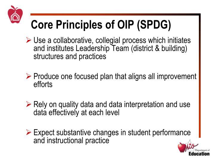Core principles of oip spdg