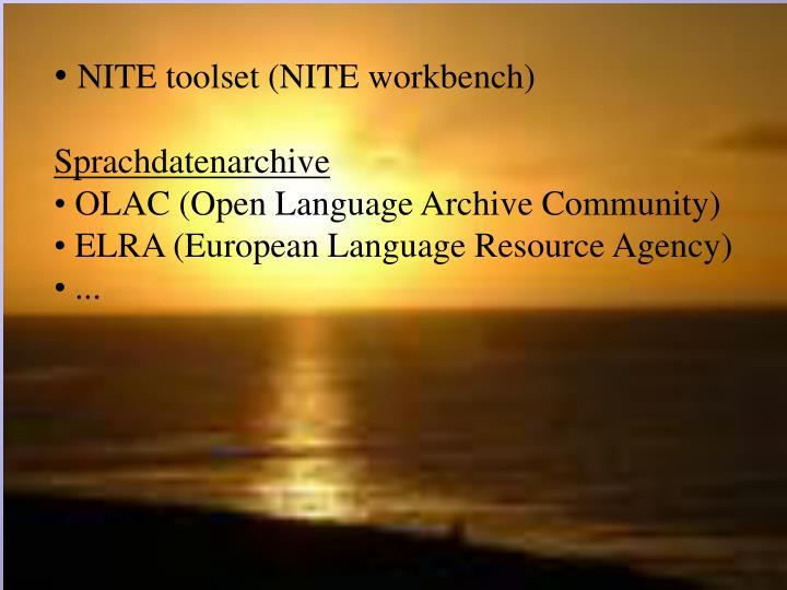 NITE toolset (NITE workbench)