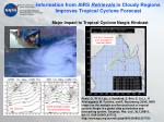 information from airs retrievals in cloudy regions improves tropical cyclone forecast